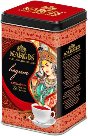 Nargis Begum Premium Assam Black Tea with Cinnamon , Loose Whole Leaf 200 gm Premium Caddy