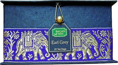 Bagan Earl Grey Tea Gift Box - Black Paper, Purple Elephant Zari Lace (25 tea bags)
