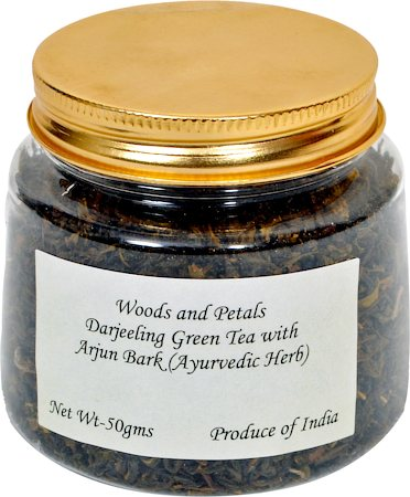 Woods and Petals Darjeeling Green Tea with Arjun Bark, Loose Leaf 50 gm