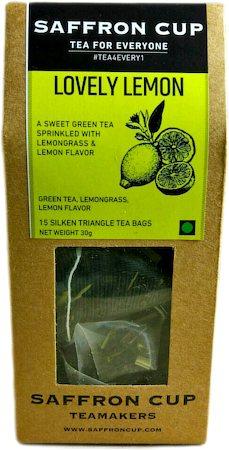 Saffron Cup Lovely Lemon Green Tea (15 Pyramid tea bags)