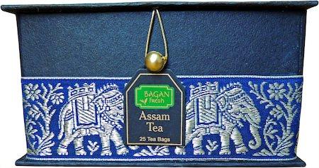 Bagan Assam Tea Gift Box - Black Paper, Navy Blue Elephant Zari Lace (25 tea bags)