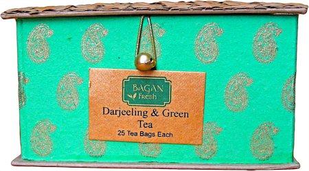 Bagan Darjeeling, Assam Tea Twin Pack - Green Gift Box with Bamboo Mat (50 tea bags)