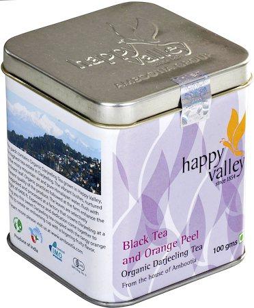 Happy Valley Organic Darjeeling Earl Grey - Black Tea with Orange Peels, 100 gm