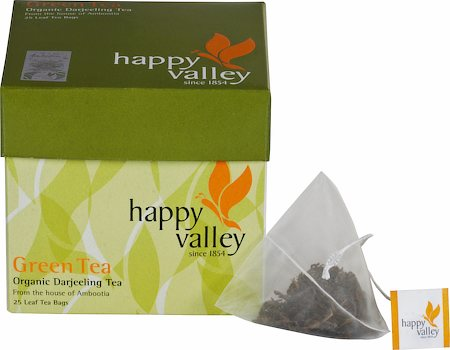 Happy Valley Organic Darjeeling Green Tea, Whole Leaf (25 Pyramid tea bags)