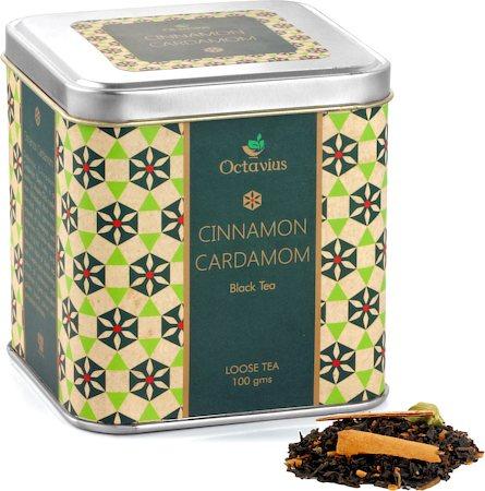 Octavius Black Tea with Cinnamon and Cardamom Flavour, Loose Leaf 100 gm Premium Caddy