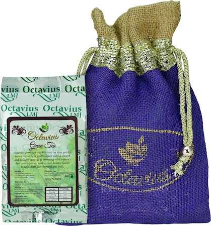 Octavius Whole Leaf Darjeeling Green Tea - Decorative Gift Jute Bag, 100 gm