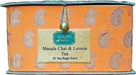 Bagan Masala Chai & Lemon Tea Twin Pack - Orange Gift Box with Bamboo Matt (50 tea bags)