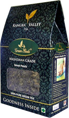 GreenBuds Kangra Mashdana Green Pearls Tea, Loose Leaf 200 gm