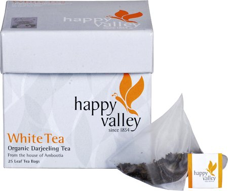 Happy Valley Organic Darjeeling White Tea, Whole Leaf (25 Pyramid tea bags)
