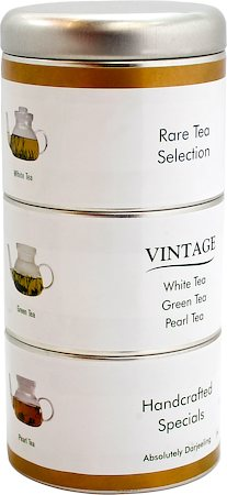Gopaldhara Vintage Rare Tea Selection, White, Green and Pearl Tea Caddy