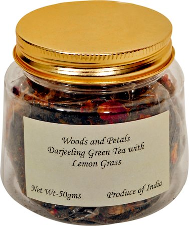 Woods and Petals Darjeeling Green Tea with Lemongrass, Loose Leaf 50 gm