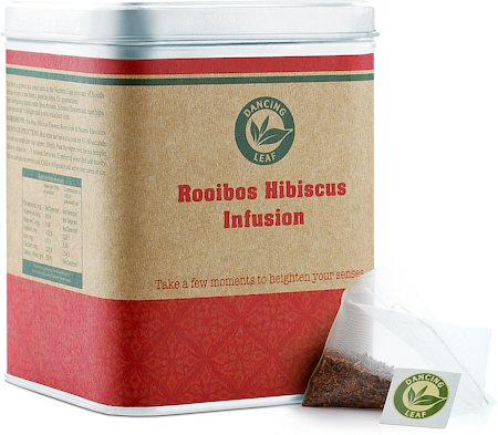 Dancing Leaf Rooibos Hibiscus Infusion Tea Caddy (25 Pyramid tea bags)