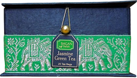 Bagan Jasmine Green Tea Gift Box - Black Paper, Green Elephant Zari Lace (25 tea bags)
