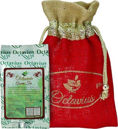 Octavius Whole Leaf Assam Black Tea - Decorative Gift Jute Bag, 100 gm