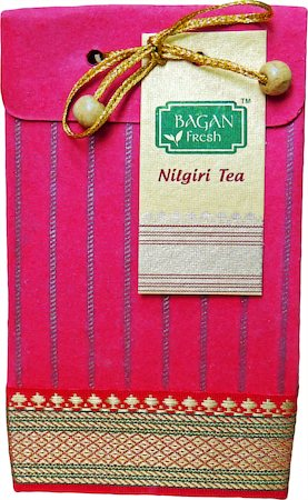 Bagan Nilgiri Tea Gift Pack - Red Paper with Zari Lace, 100 gm