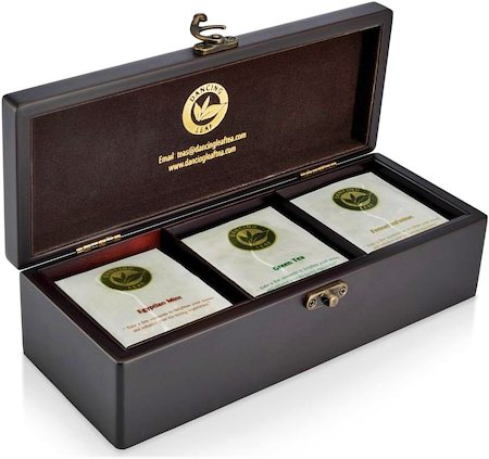 Dancing Leaf 3-Partition Wooden Box - Assorted Tea Gift Chest (18 Pyramid tea bags)