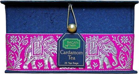 Bagan Cardamom Tea Gift Box - Black Paper, Magenta Elephant Zari Lace (25 tea bags)