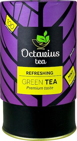 Octavius Whole Leaf Mint Green Tea - Vibrant Gift Caddy, 100 gm