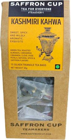 Saffron Cup Kashmiri Kahwa Green Tea (15 Pyramid tea bags)