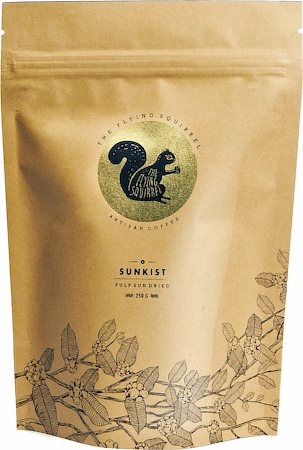 Flying Squirrel Sunkist Pulp Sun Dried Artisan Coffee, Whole Beans 250 gm