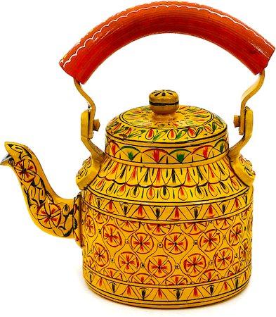 Kaushalam Hand-Painted Tea Kettle, Small - Yellow and Orange