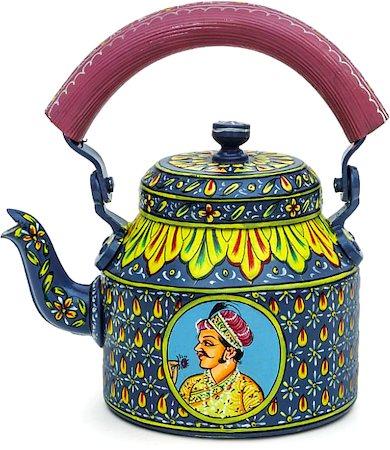 Kaushalam Hand-Painted Tea Kettle, Large - Raja and Rani, Blue