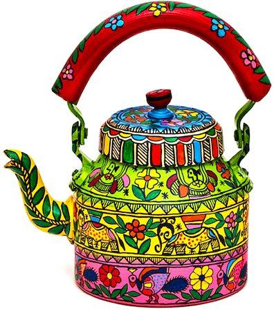 Kaushalam Hand-Painted Tea Kettle, Large - Celebration