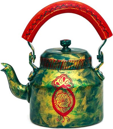 Kaushalam Hand-Painted Tea Kettle, Large - Golden Green and Red