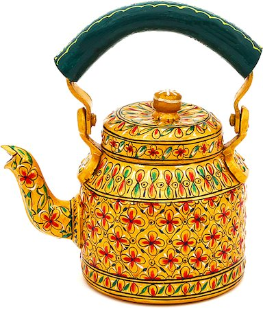 Kaushalam Hand-Painted Tea Kettle, Small - Golden and Green
