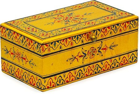 kaushalam hand painted tea box golden. Black Bedroom Furniture Sets. Home Design Ideas