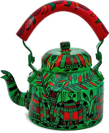 Kaushalam Hand-Painted Tea Kettle, Large - Green and Pink