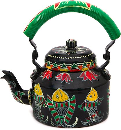Kaushalam Hand-Painted Tea Kettle, Large - Black and Green