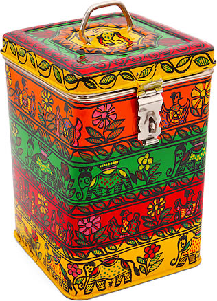 Kaushalam Hand-Painted Cookie Canister - Multicolor
