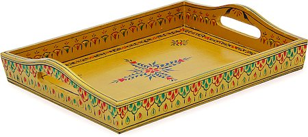 Kaushalam Hand-Painted Wooden Tray, Large - Beige