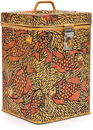 Kaushalam Hand-Painted Cookie Canister - Fish, Yellow