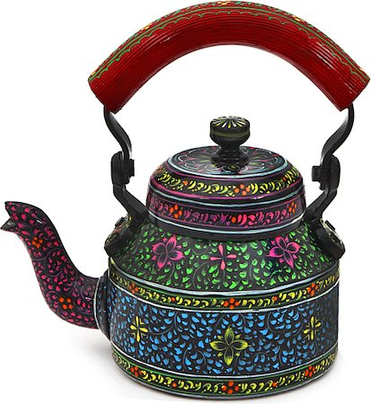 Kaushalam Hand-Painted Tea Kettle, Small - Black and Maroon