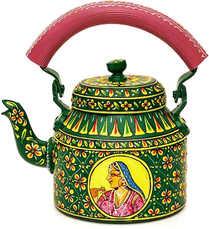 Kaushalam Hand-Painted Tea Kettle, Large - Raja and Rani, Green