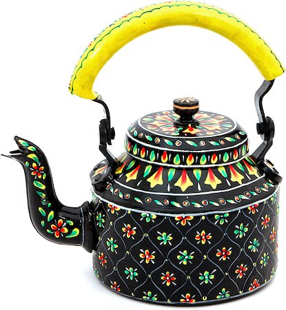 Kaushalam Hand-Painted Tea Kettle, Large - Black and Yellow