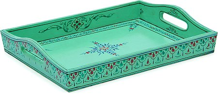 Kaushalam Hand-Painted Wooden Tray, Large - Green