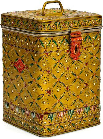 Kaushalam Hand-Painted Cookie Canister - Light Yellow