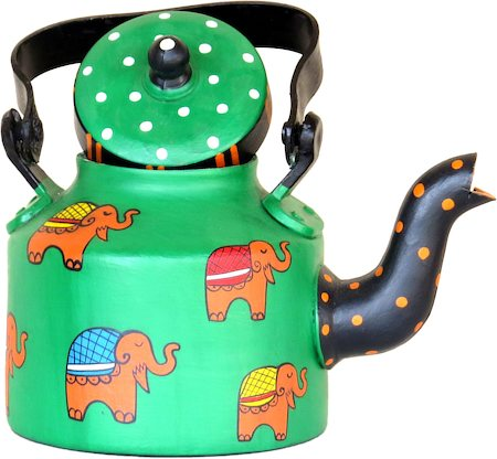 ScrapShala Hand-Painted Tea Kettle, Ethnic Desi Elephant - Green and Black