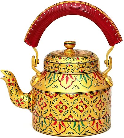 Kaushalam Hand-Painted Tea Kettle, Large - Golden Glow