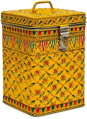 Kaushalam Hand-Painted Cookie Canister - Flower, Yellow