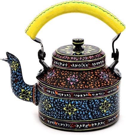 Kaushalam Hand-Painted Tea Kettle, Large - Black and Yellow