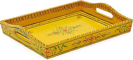 Kaushalam Hand-Painted Wooden Tray, Large - Yellow