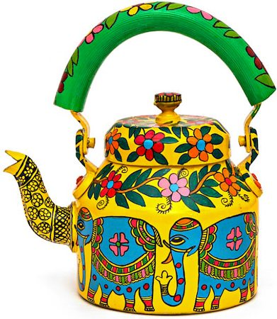 Kaushalam Hand-Painted Tea Kettle, Large - Blue Elephant