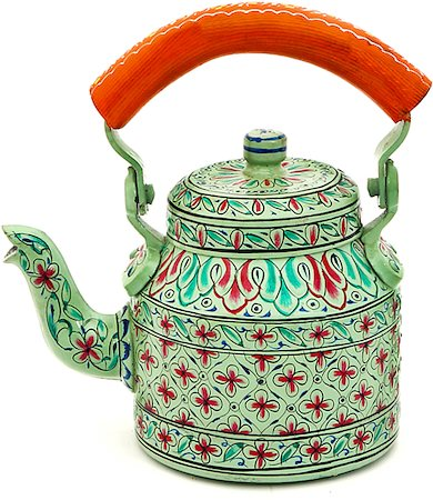 Kaushalam Hand-Painted Tea Kettle, Small - Sea Green and Orange