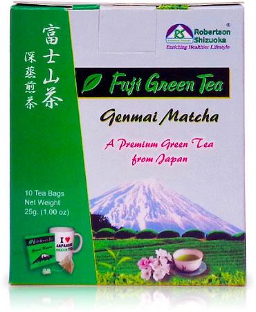 Robertson Shizuoka Japanese Genmai Matcha Fuji Green Tea, Nutty (10 Pyramid tea bags)