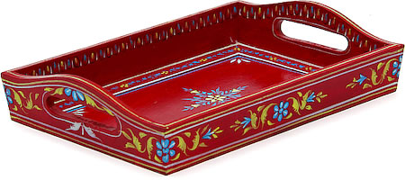 Kaushalam Hand-Painted Wooden Tray, Small - Red