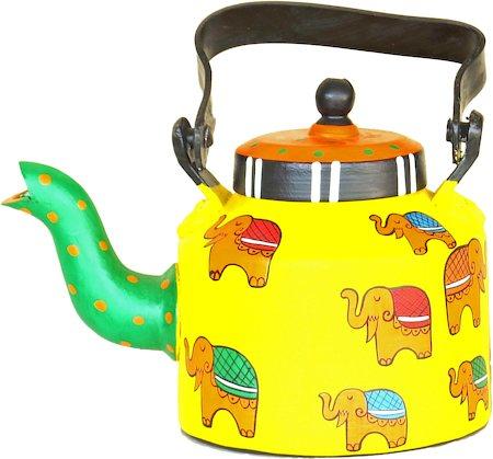 ScrapShala Hand-Painted Tea Kettle, Ethnic Desi Elephant - Yellow and Green